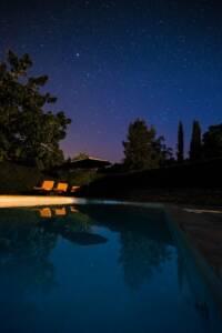White and brown backyard pool during night