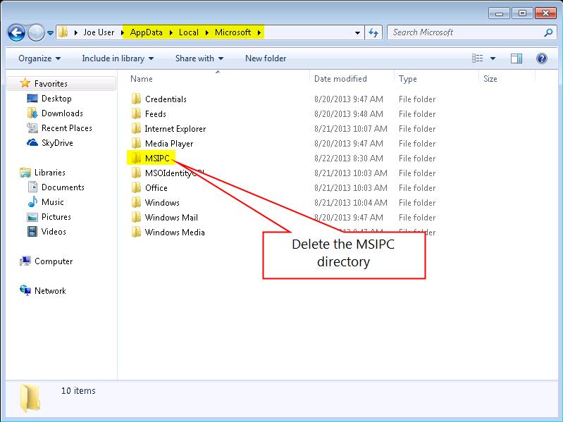Delete the DRM Folder