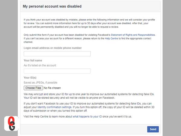 My personal account was disabled